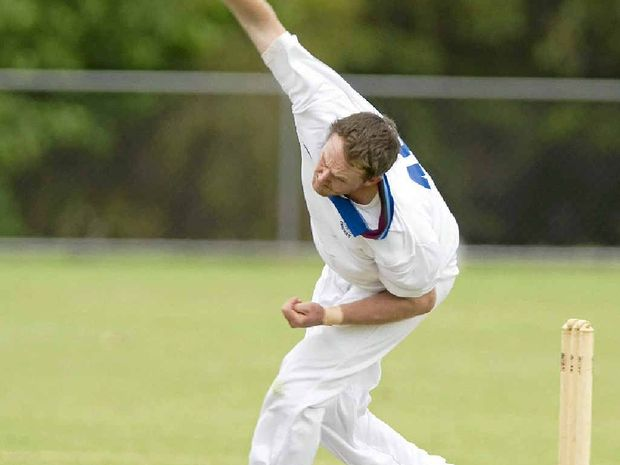 John Cleary, pictured bowling in Schaeffer Shield cricket in Toowoomba this season, is a key for Warwick in Mitchell Shield tomorrow at Slade Park.